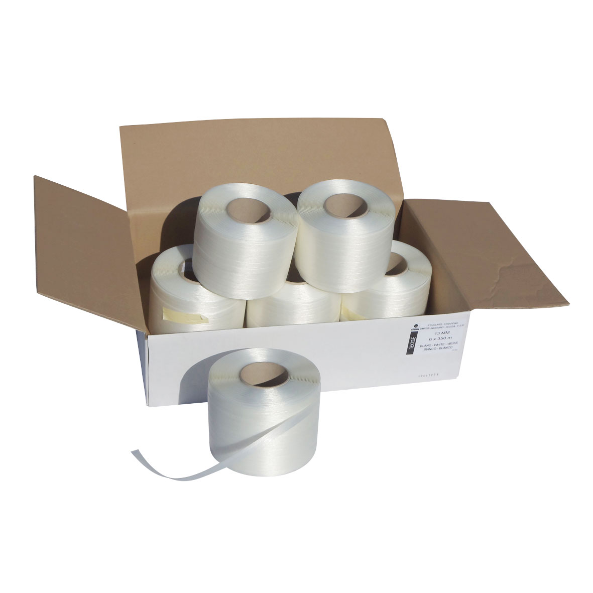 16mm wide baler banding - box contains 6 x 350 metre long rolls in white