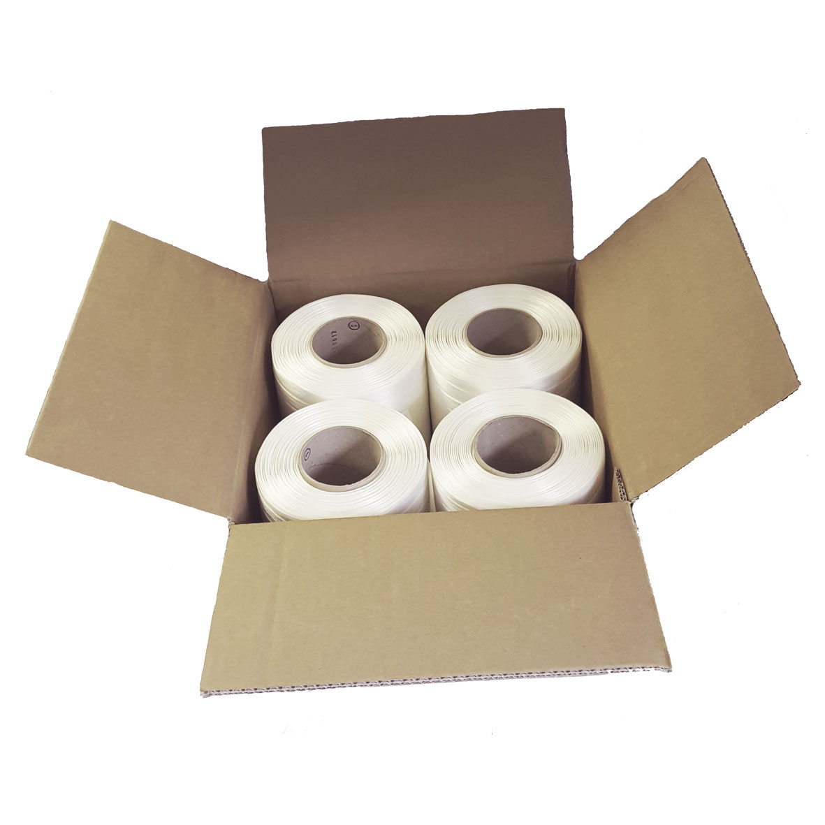 16mm wide baler banding - box contains 4 x 250 metre long rolls in white