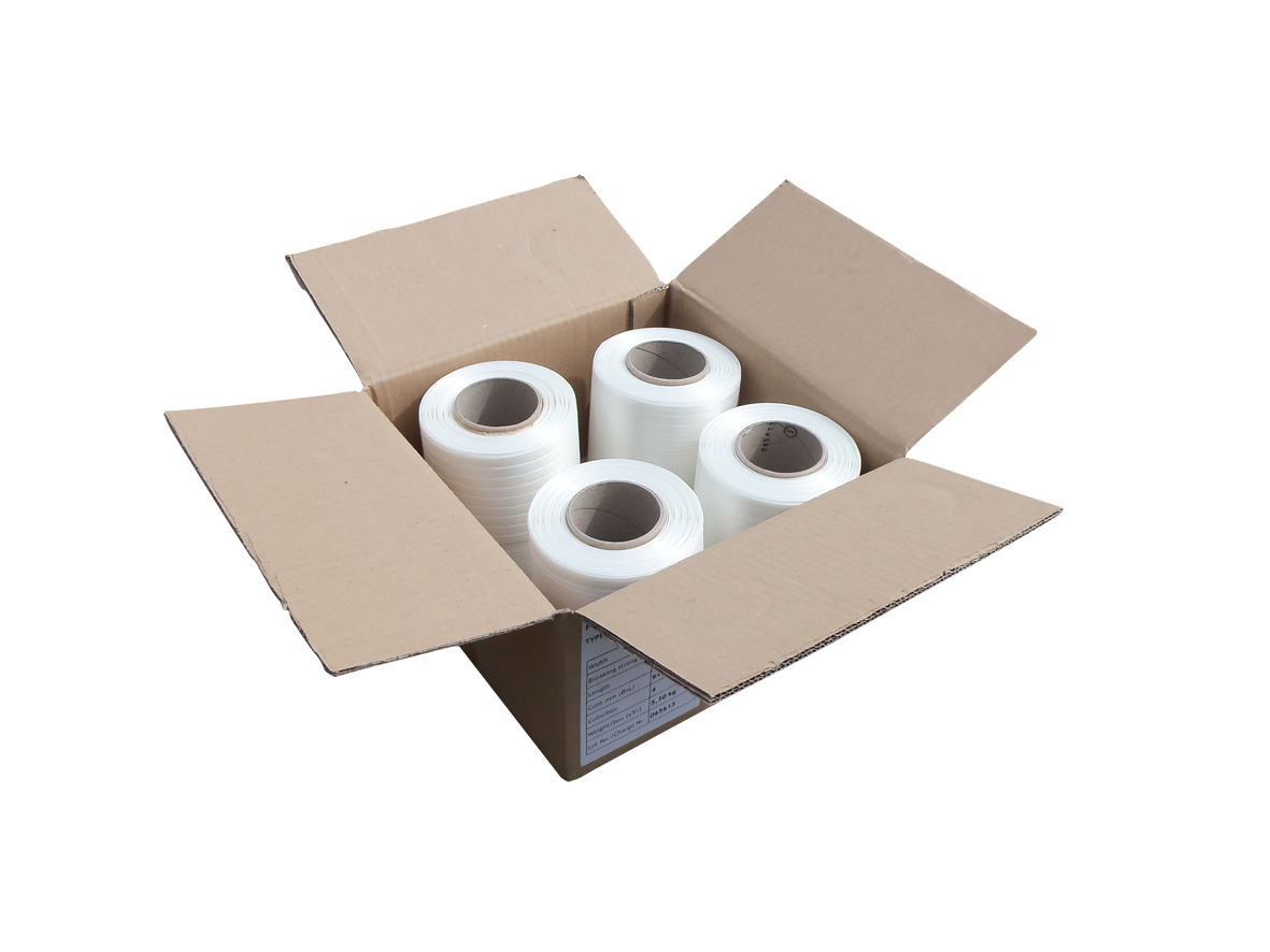 9mm wide baler strapping banding - box contains 4 x 250 metre long rolls in white