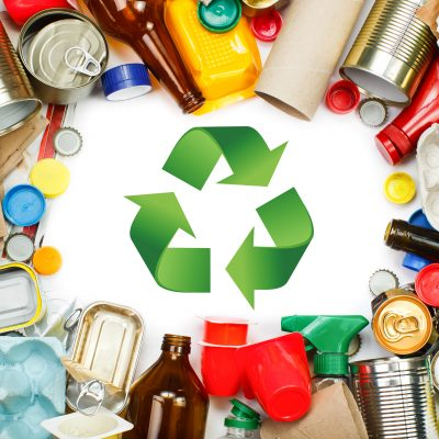 cardboard, plastic, metal and glass waste environmental