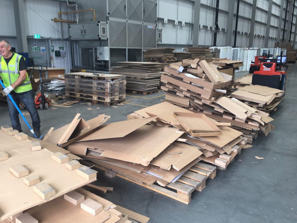 cardboard before horizontal baler